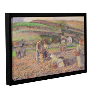 Camille Pissarro's 'The Potato Harvest, 1886' Gallery Wrapped Floater-framed Canvas
