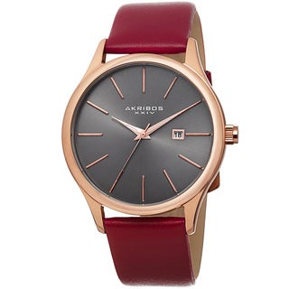 Akribos XXIV Classic Men's Sunray Dial Genuine Leather Strap Watch - RED