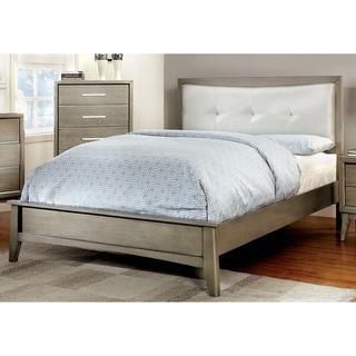 Furniture of America Meric Modern Tufted Grey Platform Bed