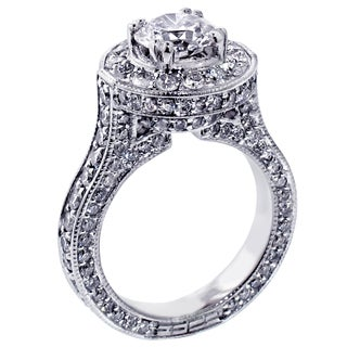 Platinum 3 4/5ct TDW Round Halo Diamond Engagement Ring