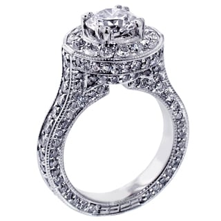 Platinum 3 4/5ct TDW Round Halo Diamond Engagement Ring (G-H, SI1-SI2)