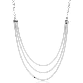 Argento Italia Sterling Silver High Polish Three Layer Herringbone Adjustable Length Necklace