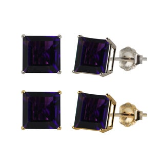 10k White or Yellow Gold 8mm Square Amethyst Stud Earrings