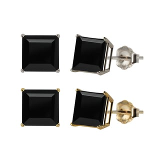 10k White or Yellow Gold 8mm Square Black Onyx Stud Earrings