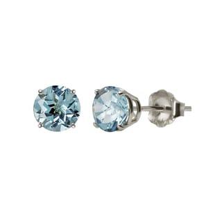 Sterling Silver 5mm Round Blue Topaz Stud Earrings