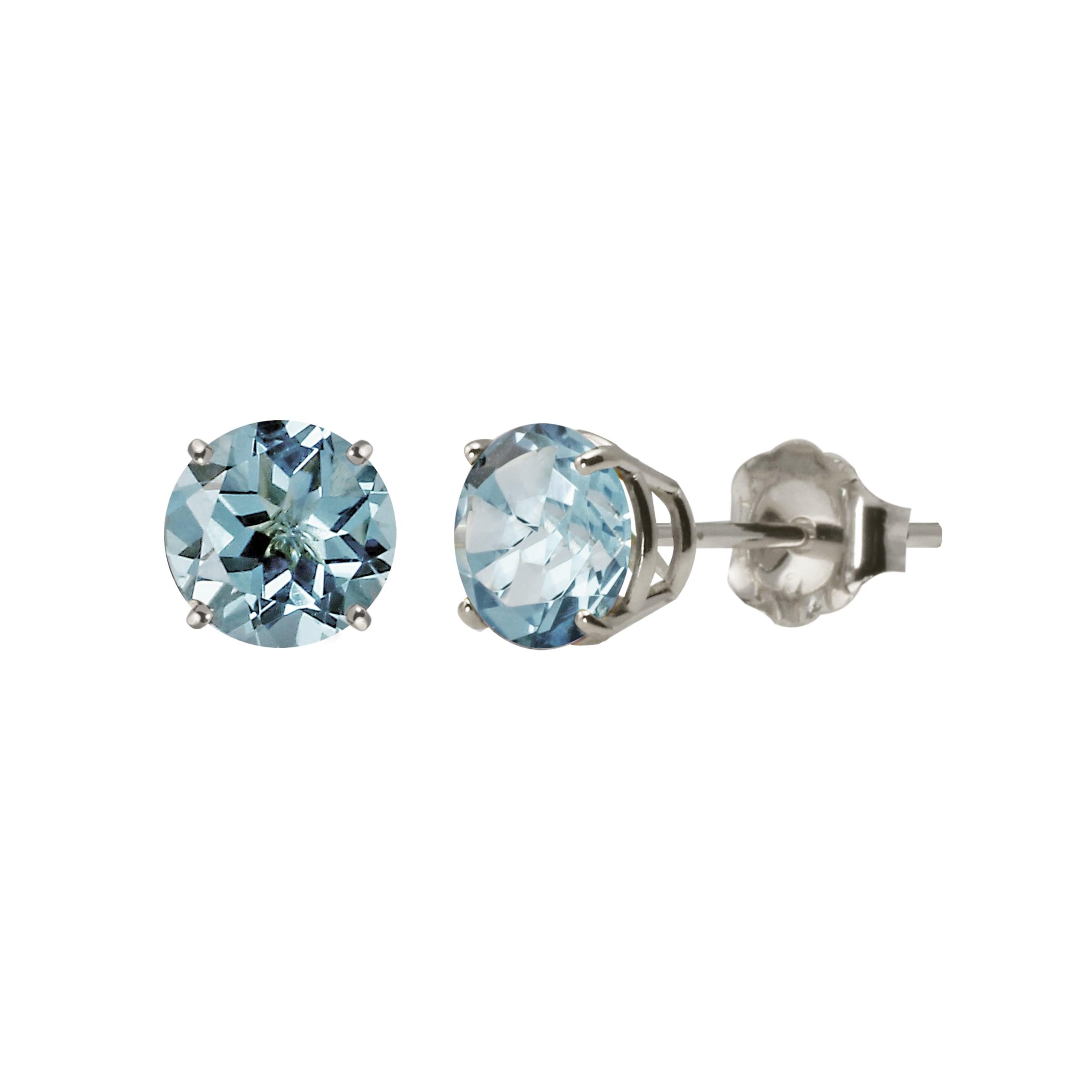 Sterling Silver 5mm Genuine Blue Topaz Stud Earrings