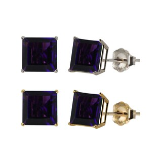 10k White or Yellow Gold 6mm Square Amethyst Stud Earrings