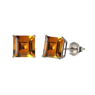 10k White or Yellow Gold 8mm Square Citrine Stud Earrings