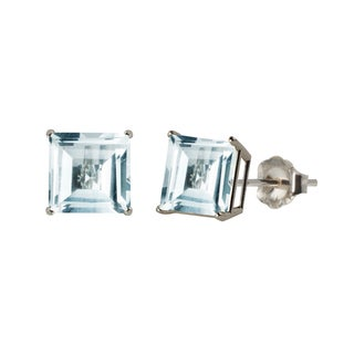10k White or Yellow Gold 8mm Square Aquamarine Stud Earrings
