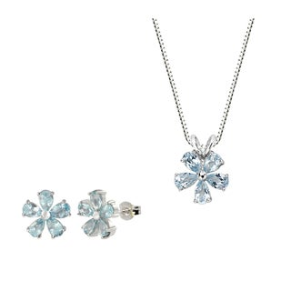 Sterling Silver Blue Topaz Flower Pendant and Earring Set