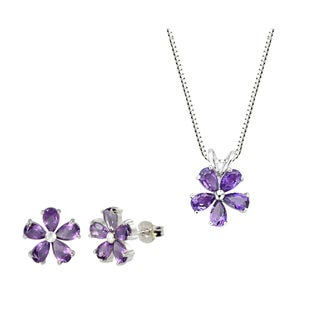 Sterling Silver Amethyst Flower Pendant and Earring Set
