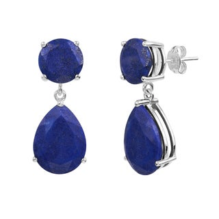 Sterling Silver Lapis Round and Pear Shaped Dangle Earring