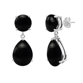Sterling Silver Black Onyx Cabachon Round and Pear Shaped Dangle Earrings