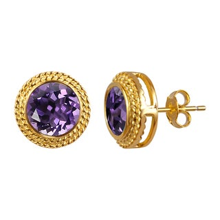 14k Yellow Gold Plated Round Amethyst Studs Earrings - Purple