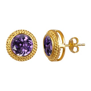 14k Yellow Gold Plated Round Amethyst Studs Earrings