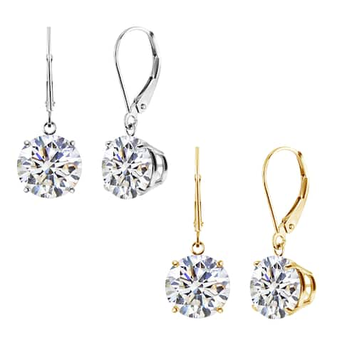 14k White or Yellow CZ Leverback Dangle Earrings (2.00 to 8.00 ctw)