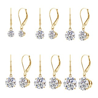14k White or Yellow CZ Leverback Dangle Earrings (2.00 ctw to 8.00 ctw look)
