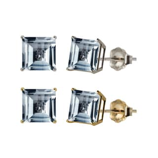 10k White or Yellow Gold 6mm Square Lab-Created Aquamarine Stud Earrings