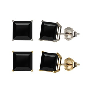 10k White or Yellow Gold 6mm Square Black Onyx Stud Earrings