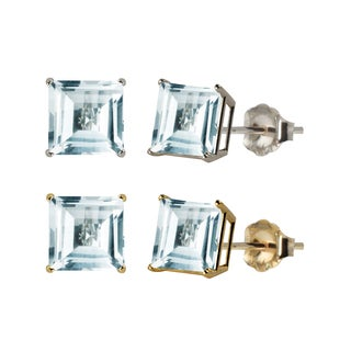 10k White or Yellow Gold 6mm Square Aquamarine Stud Earrings