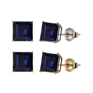 10k White or Yellow Gold 6mm Square Lab-Created Blue Sapphire Stud Earrings