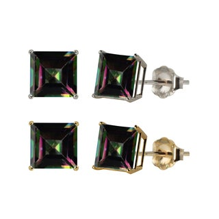 10k White or Yellow Gold 6mm Square Mystic Topaz Stud Earrings