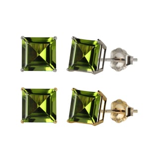 10k White or Yellow Gold 6mm Square Peridot Stud Earrings