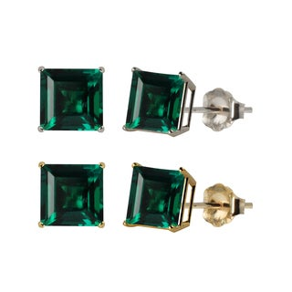 10k White or Yellow Gold 6mm Square Lab-Created Emerald Stud Earrings
