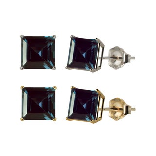 10k White or Yellow Gold 6mm Square Lab-Created Alexandrite Stud Earrings