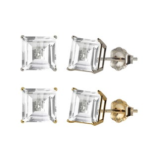 10k White or Yellow Gold 6mm Square Lab-Created White Sapphire Stud Earrings
