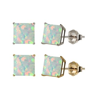 10k White or Yellow Gold 6mm Square Lab-Created Opal Stud Earrings