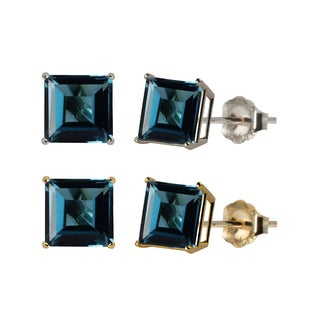 10k White or Yellow Gold 6mm Square London Blue Topaz Stud Earrings