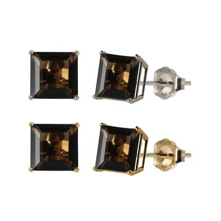 10k White or Yellow Gold 6mm Square Smoky Quartz Stud Earrings