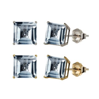 10k White or Yellow Gold 8mm Square Lab-Created Aquamarine Stud Earrings