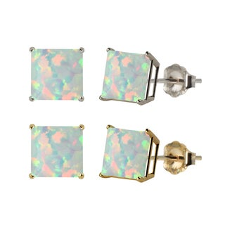 10k White or Yellow Gold 8mm Square Lab-Created Opal Stud Earrings