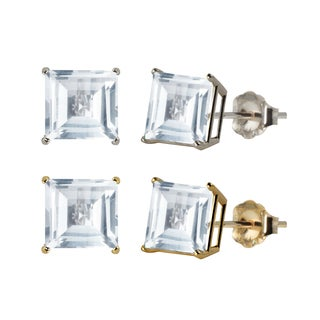 10k White or Yellow Gold 8mm Square Lab-Created White Sapphire Stud Earrings