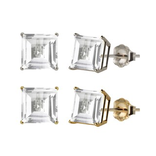 10k White or Yellow Gold 8mm Square White Topaz Stud Earrings