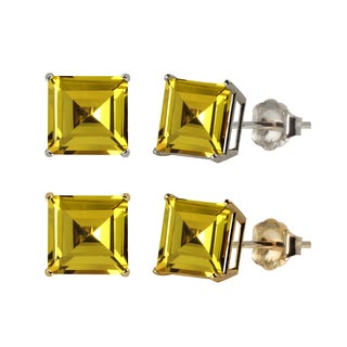 10k White or Yellow Gold 8mm Square Lab-Created Yellow Sapphire Stud Earrings