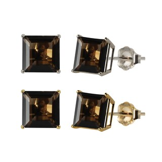 10k White or Yellow Gold 8mm Square Smoky Quartz Stud Earrings