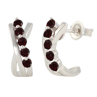 Sterling Silver Round Garnet J-Hoop Earrings