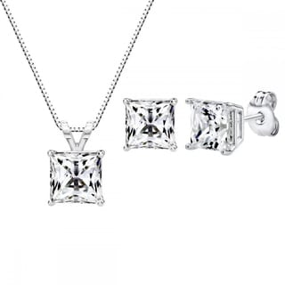 Sterling Silver Swarovski Zirconia 3 CTtw 6mm Princess-cut Pendant and Earring Set