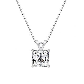 Sterling Silver 1 CTtw 6mm Princess-cut Solitaire Pendant Made with Swarovski Zirconia