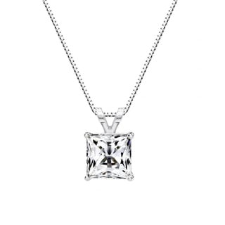 Solstice Sterling Silver 1 cttw 6mm Princess-cut Solitaire Pendant Made with Swarovski Zirconia