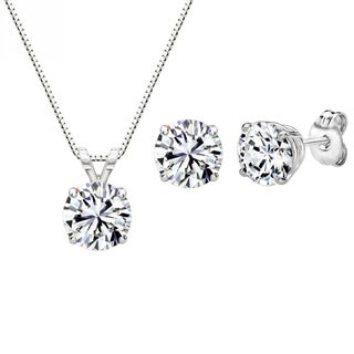 Sterling Silver Swarovski Zirconia 3 CTtw 6mm Round-cut Pendant and Earring Set