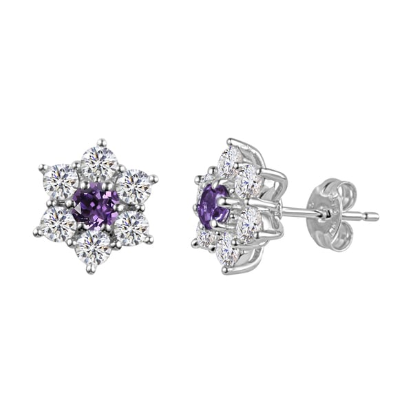 c9c900a3b Sterling Silver Round Amethyst and Lab-Created White Sapphire Flower Stud  Earrings - Purple