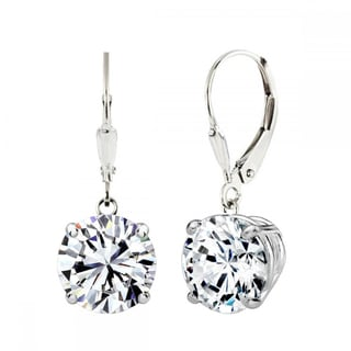 Sterling Silver 4 CTtw 8mm Round-cut Leverback Earrings Made with Swarovski Zirconia