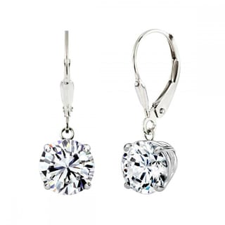 Sterling Silver 2 CTtw 6mm Round-cut Leverback Earrings Made with Swarovski Zirconia