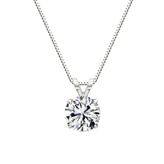 Sterling Silver 2 CTtw 8mm Round-cut Solitaire Pendant Made with Swarovski Zirconia