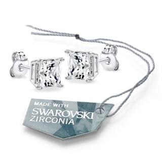 Sterling Silver Swarovski Zirconia 2 CTtw 6mm Princess-cut Stud Earrings
