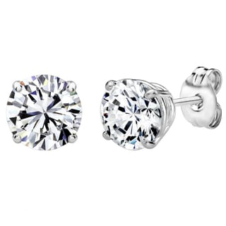 Sterling Silver 4 CTtw 8mm Round-cut Stud Earrings Made with Swarovski Zirconia